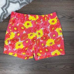 Loft Floral Linen Blend Shorts Size 6